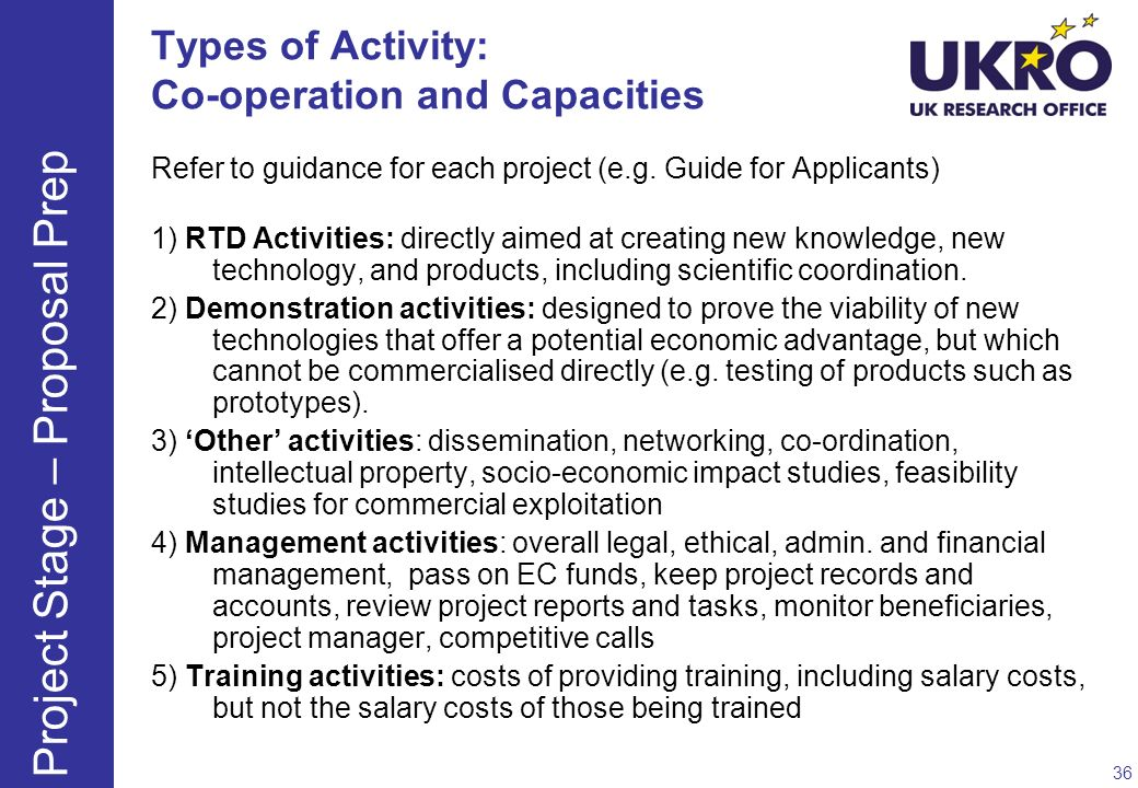 Types of Activity: Co-operation and Capacities