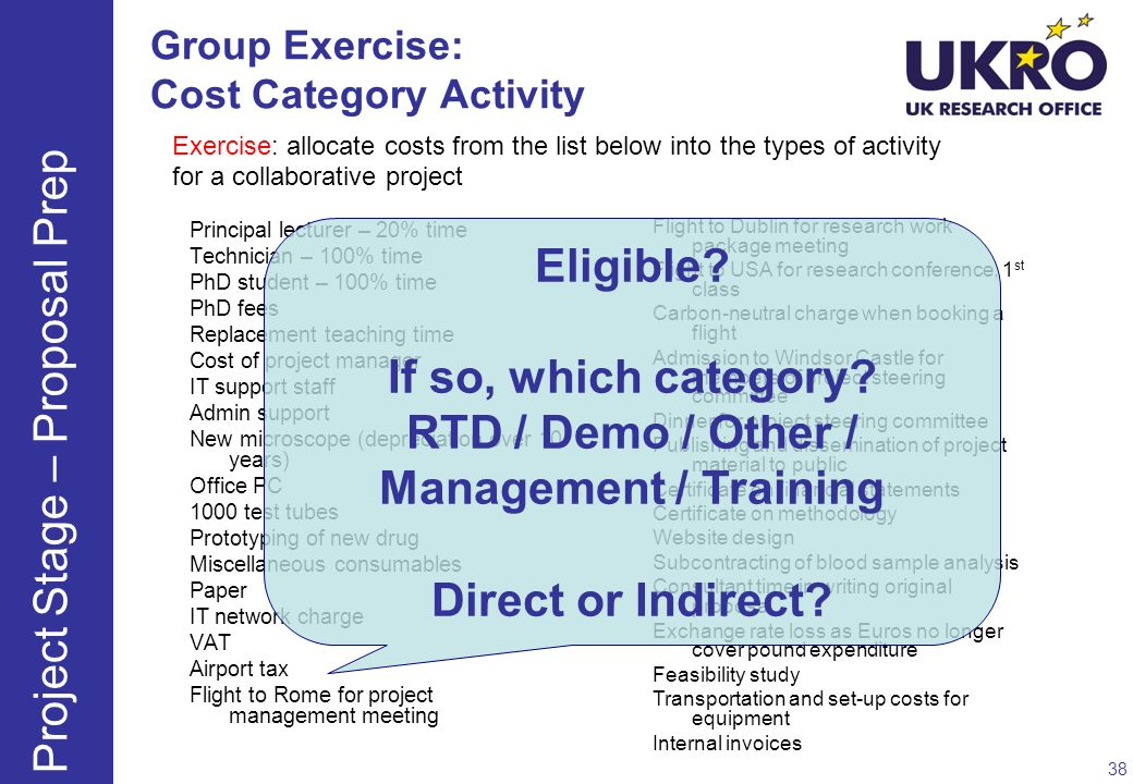 Group Exercise: Cost Category Activity