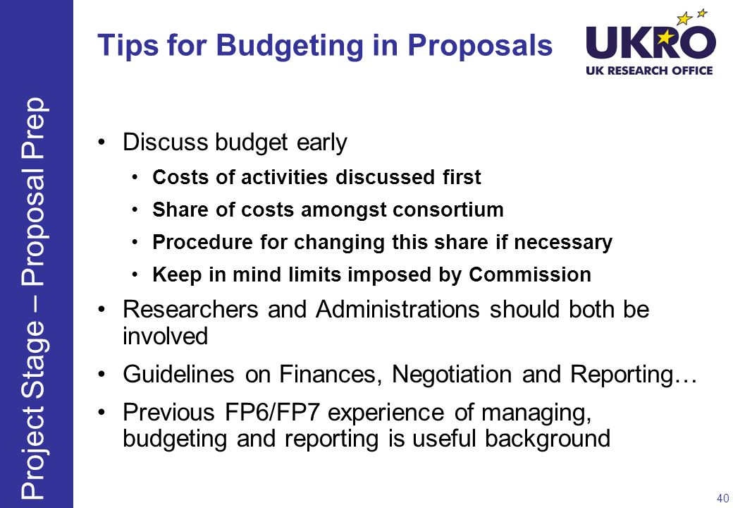 Tips for Budgeting in Proposals