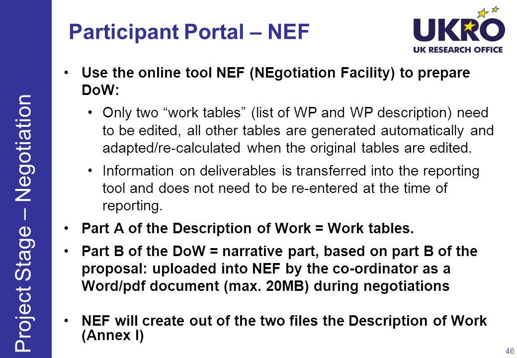 Participant Portal – NEF