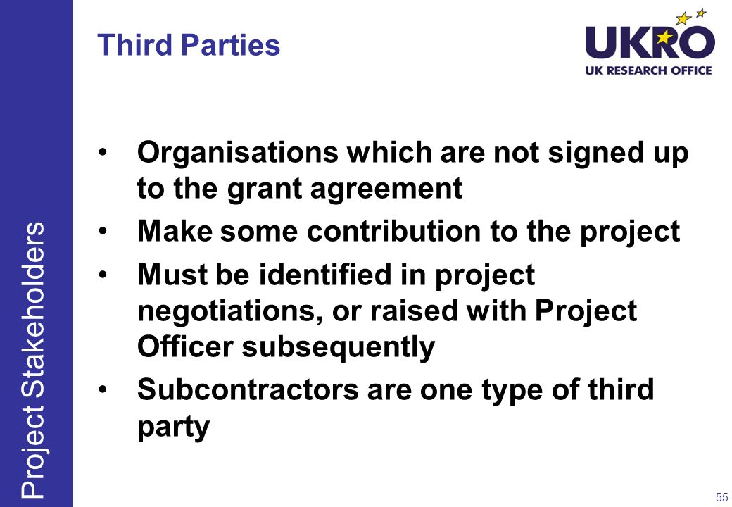 Organisations which are not signed up to the grant agreement