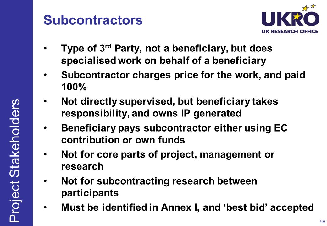 Subcontractors Project Stakeholders