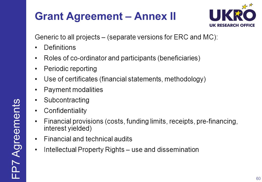 Grant Agreement – Annex II