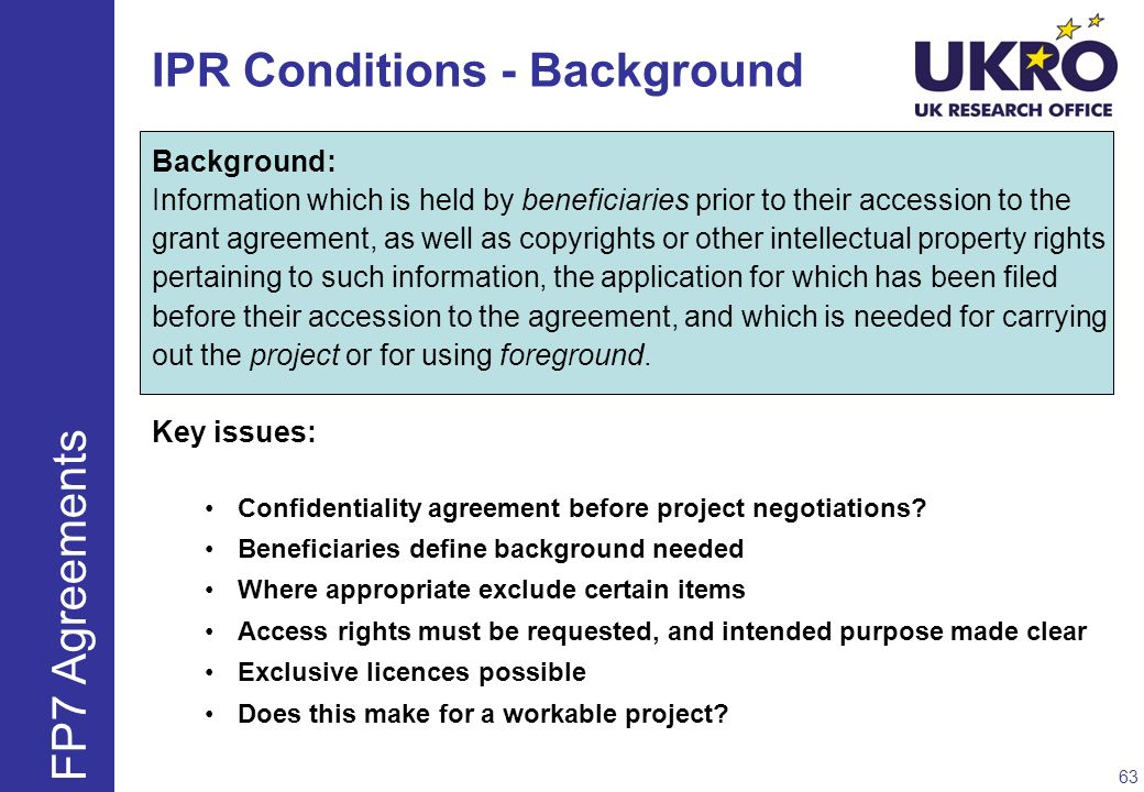 IPR Conditions - Background