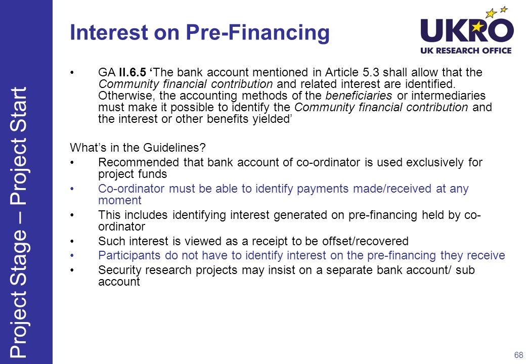 Interest on Pre-Financing