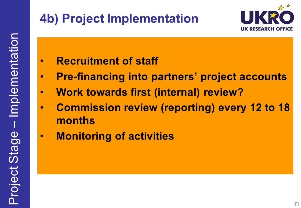 4b) Project Implementation
