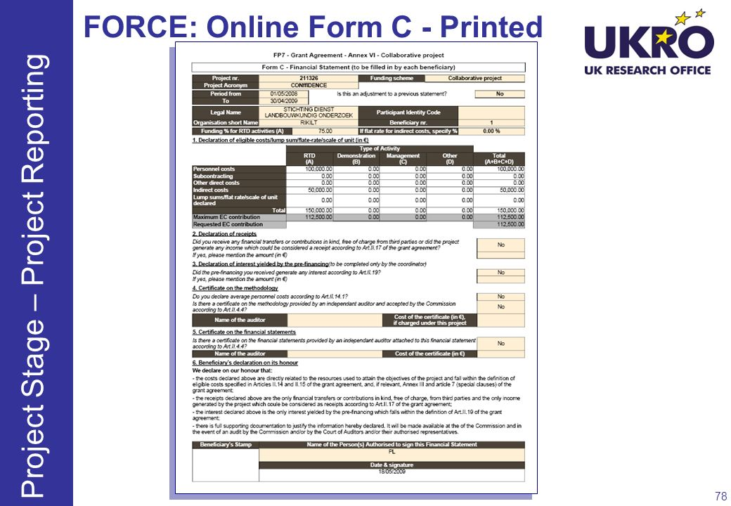 FORCE: Online Form C - Printed