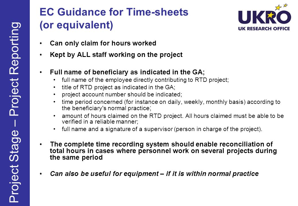 EC Guidance for Time-sheets (or equivalent)