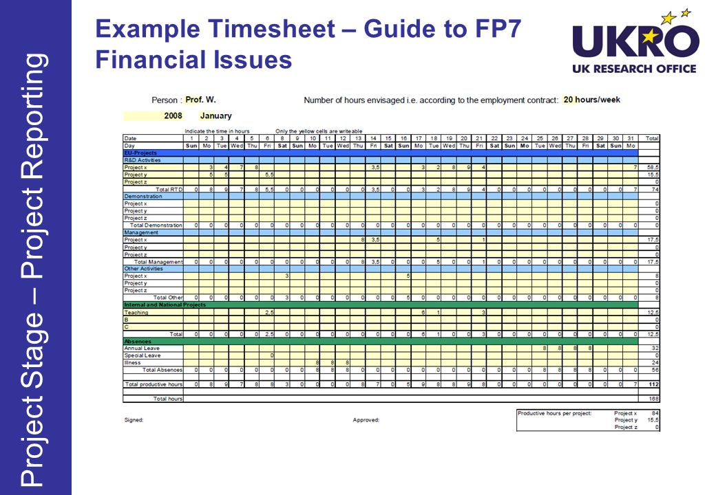 Example Timesheet – Guide to FP7 Financial Issues