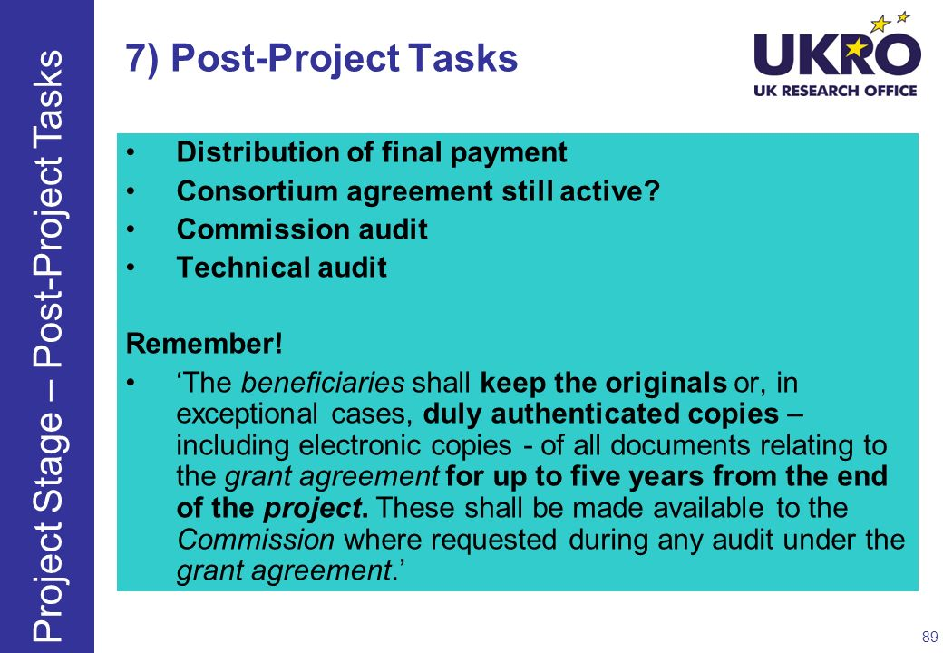 Project Stage – Post-Project Tasks