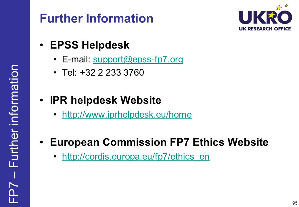 FP7 – Further information