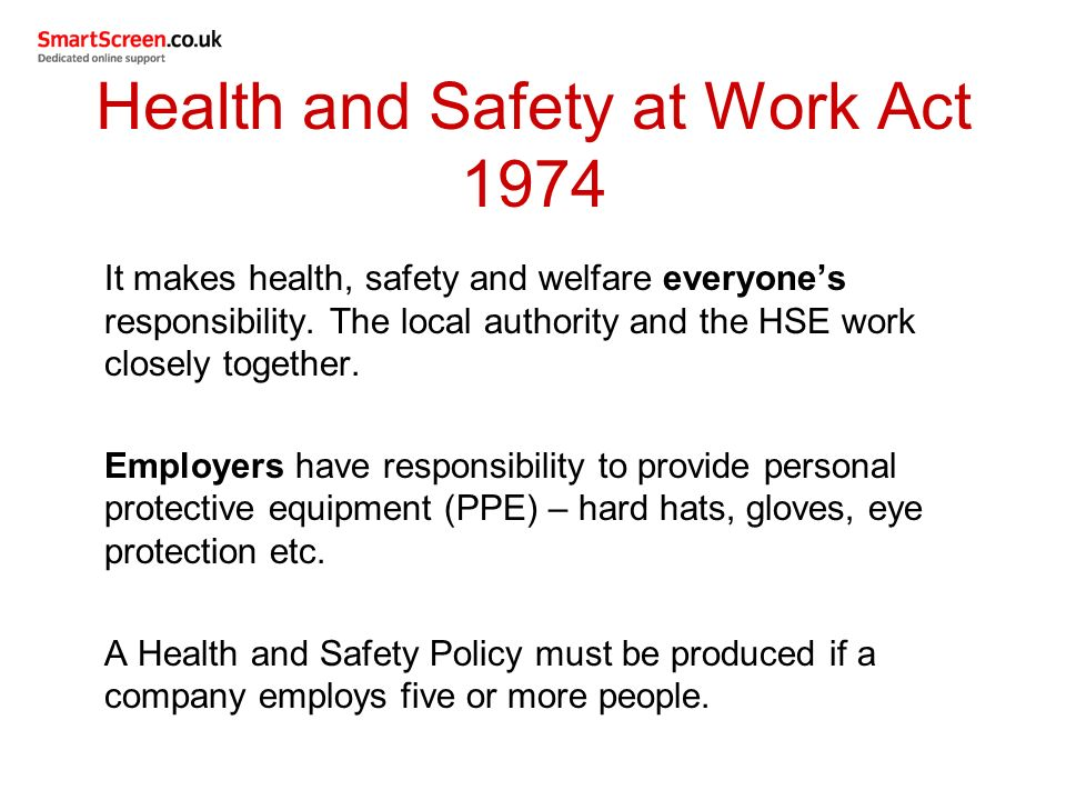 health and safety act 1974 essay Essays occupational safety and health occupational safety and health 8 august 2016  legislation that relates to health and safety includes, amongst others, the health and safety at work act 1974, management of health and safety at work regulations 1999 and health and safety (enforcing authority) regulations 1998.