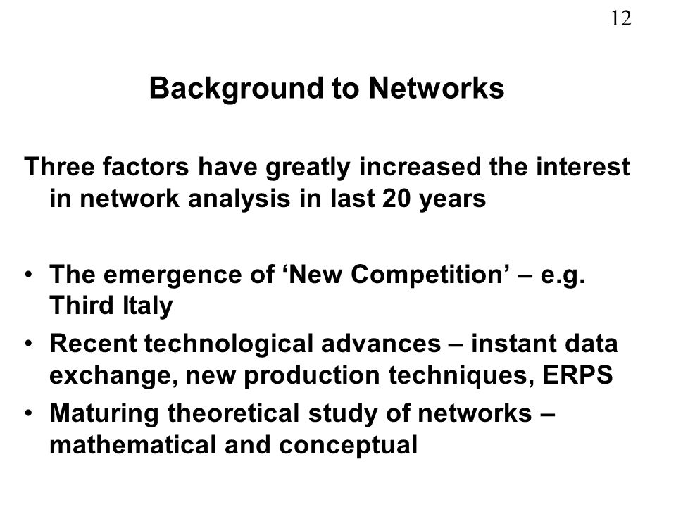Background to Networks