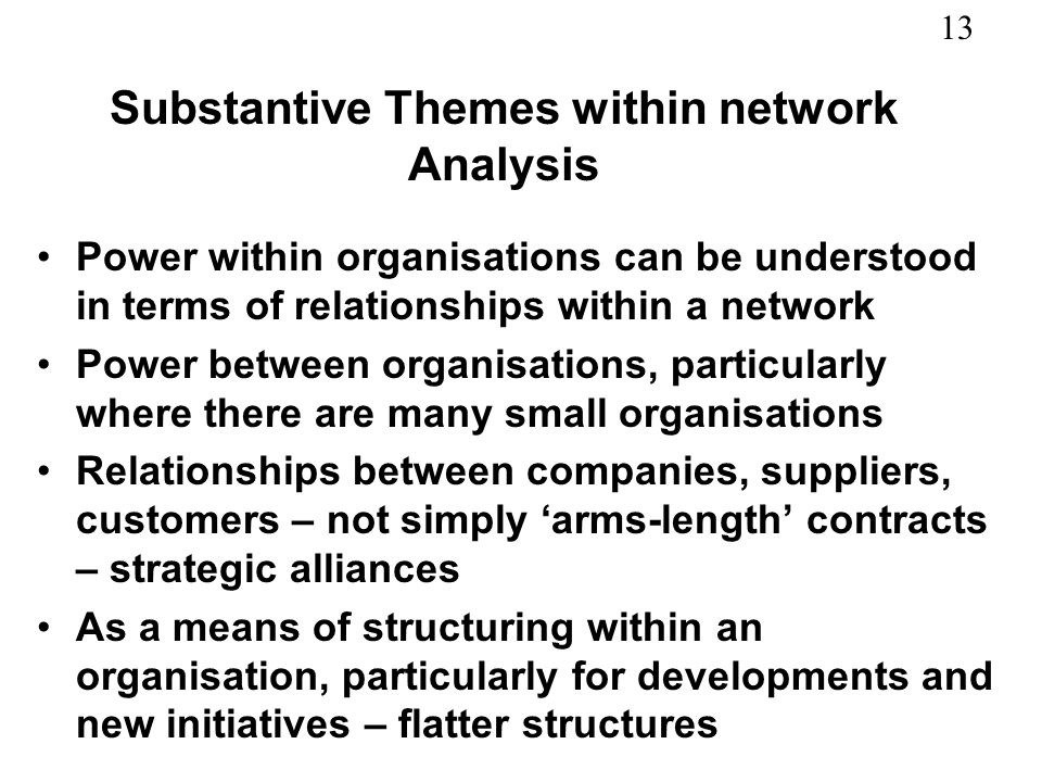 Substantive Themes within network Analysis