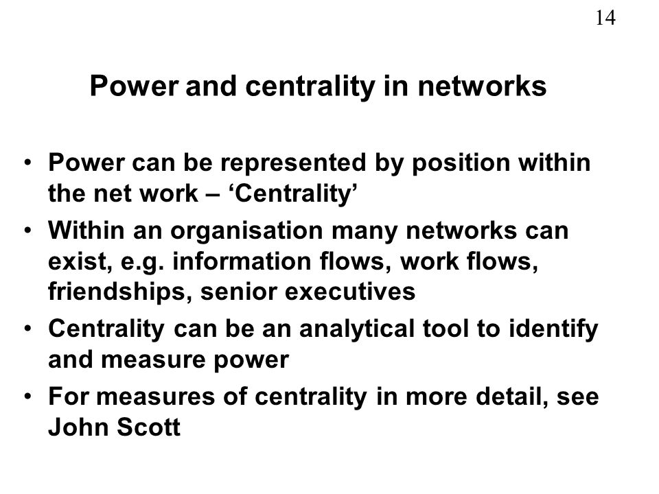 Power and centrality in networks