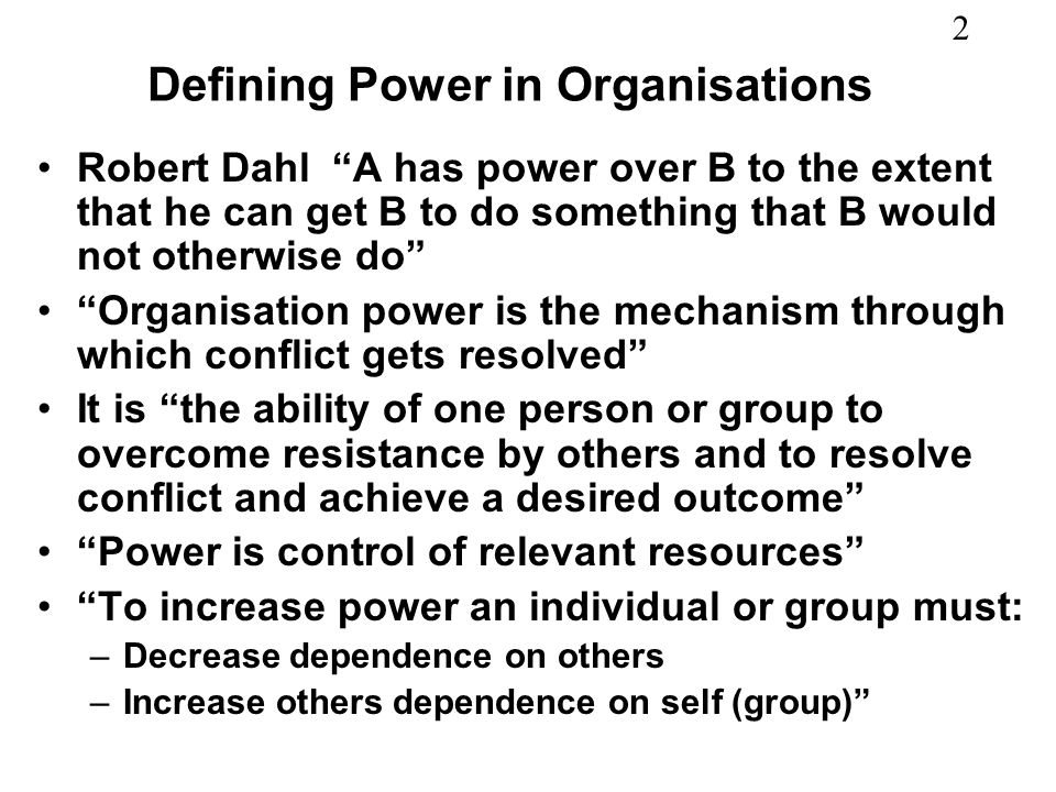 Defining Power in Organisations