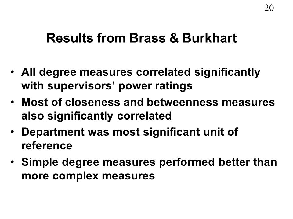 Results from Brass & Burkhart