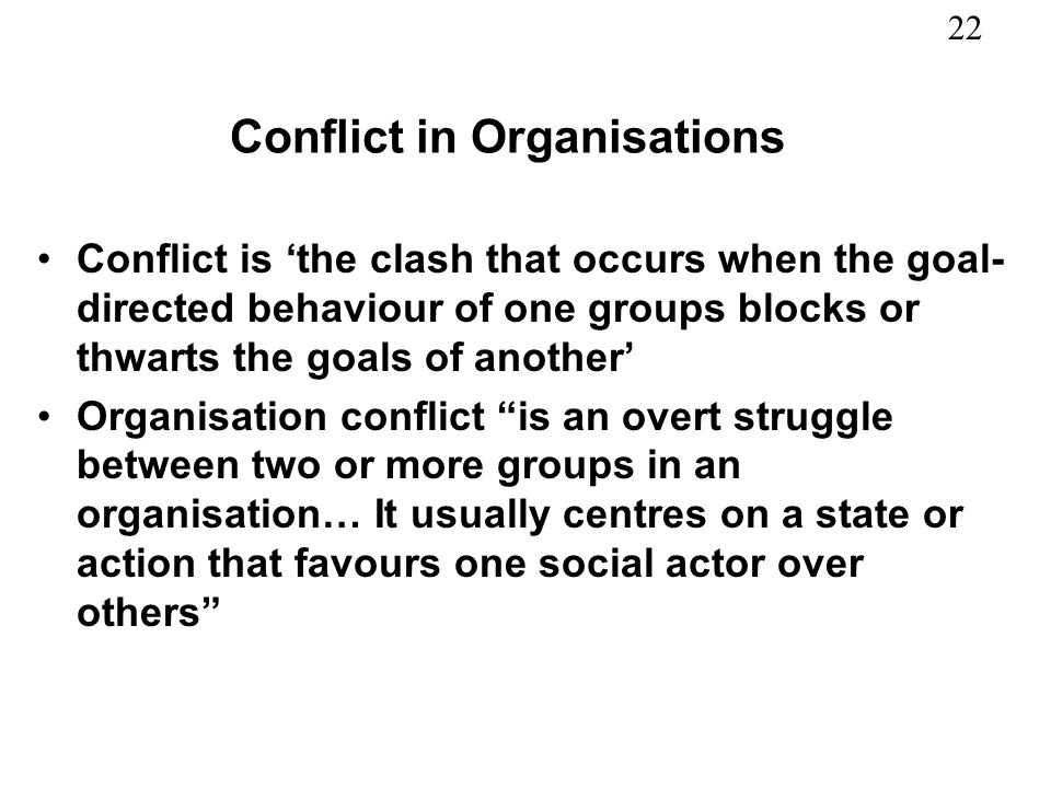 Conflict in Organisations