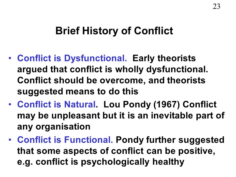 Brief History of Conflict