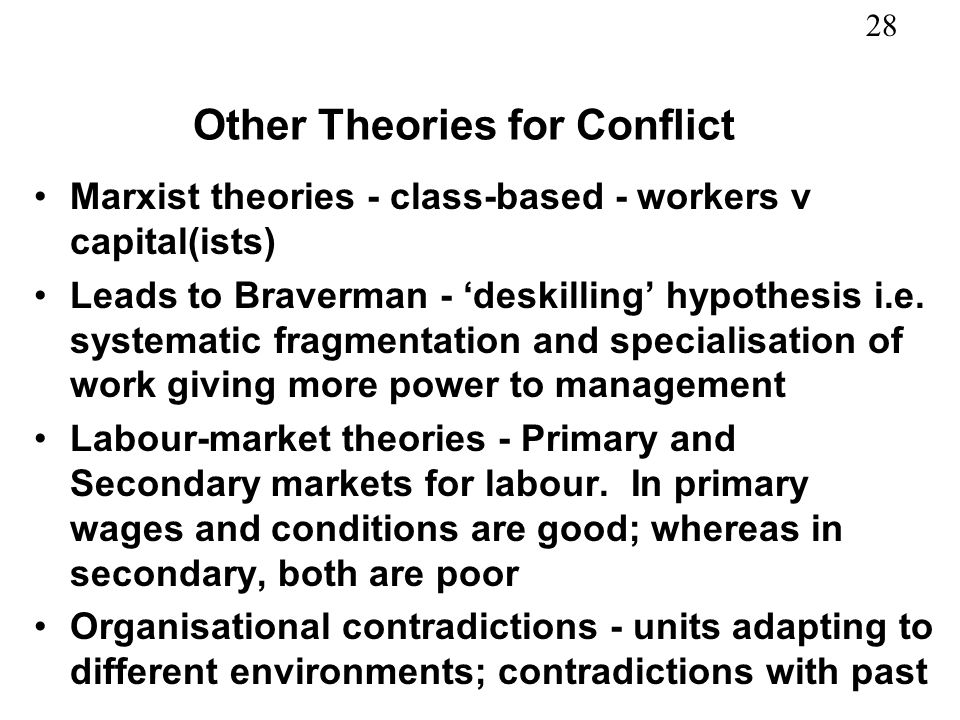 Other Theories for Conflict