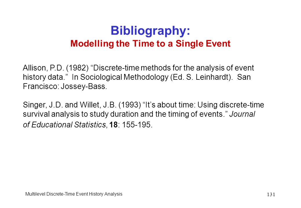 Bibliography: Modelling the Time to a Single Event