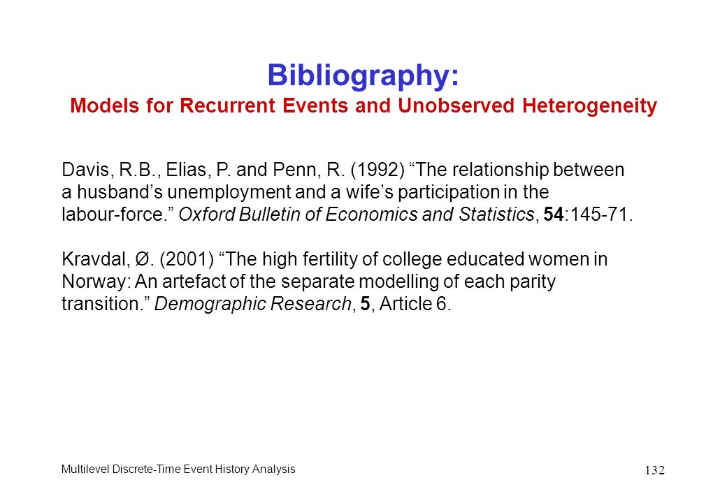 Bibliography: Models for Recurrent Events and Unobserved Heterogeneity