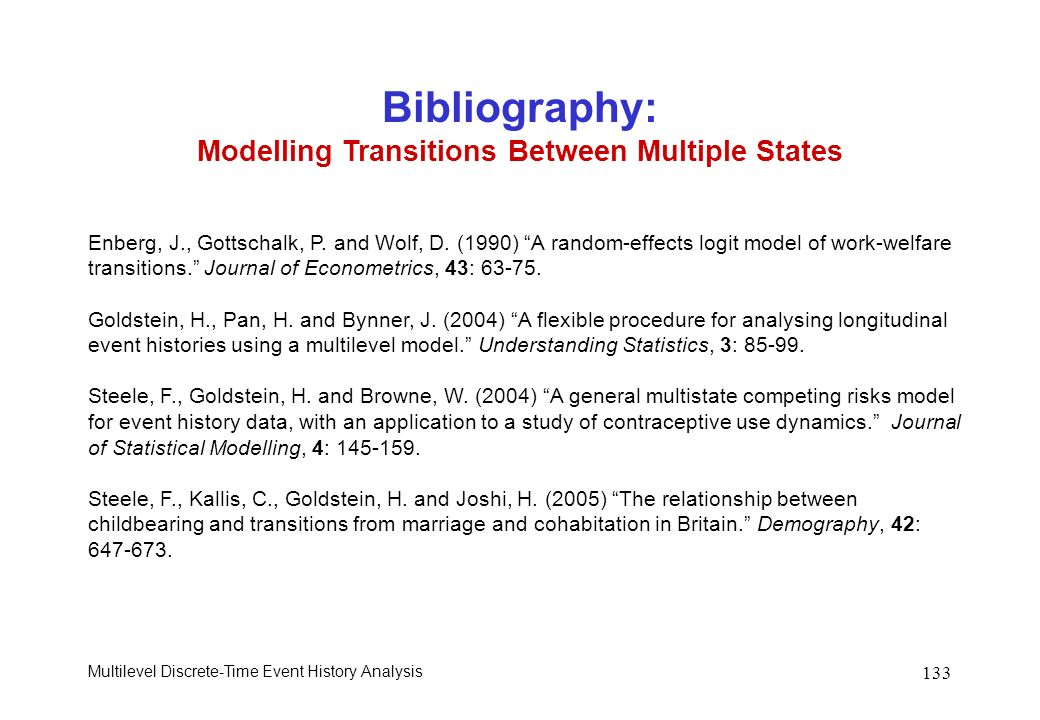 Bibliography: Modelling Transitions Between Multiple States