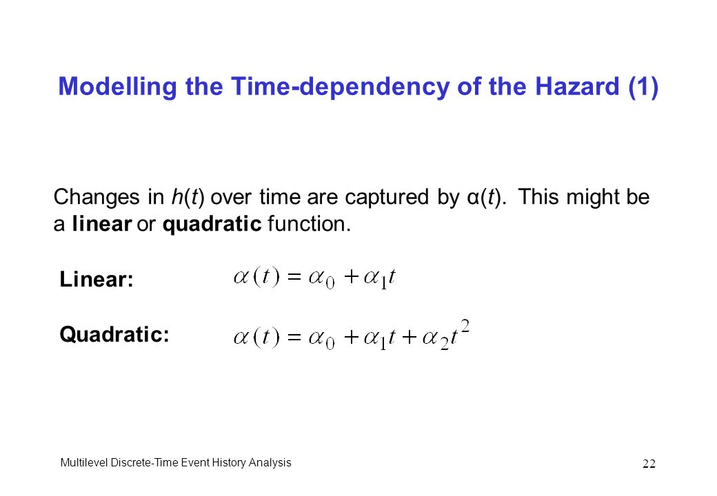 Modelling the Time-dependency of the Hazard (1)