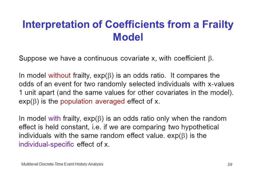 Interpretation of Coefficients from a Frailty Model
