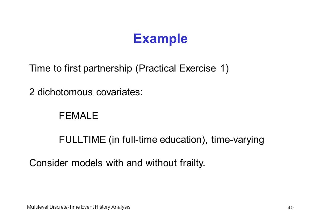 Example Time to first partnership (Practical Exercise 1)