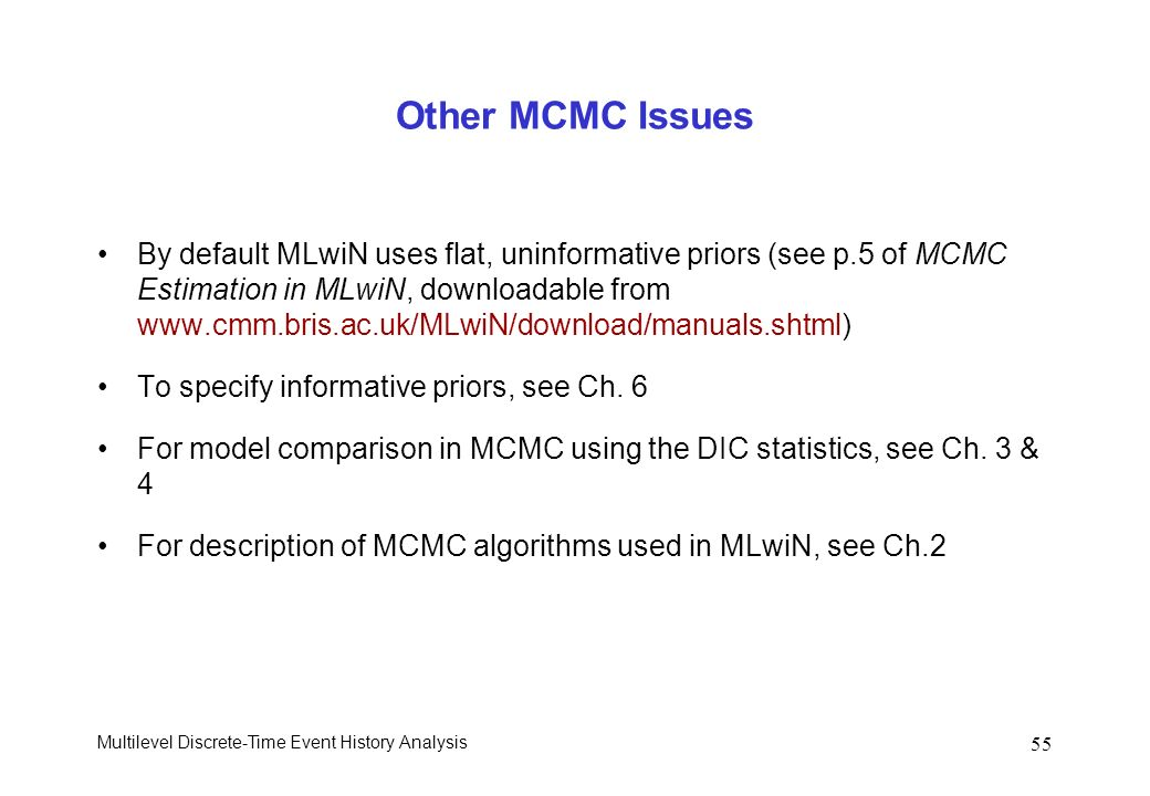 Other MCMC Issues