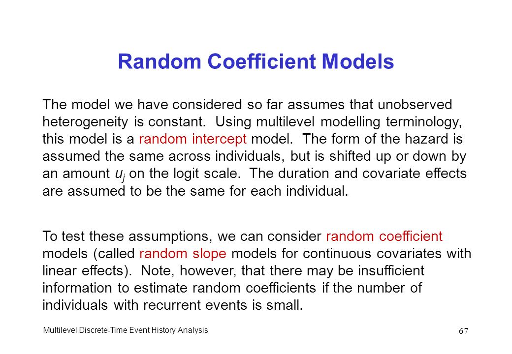 Random Coefficient Models