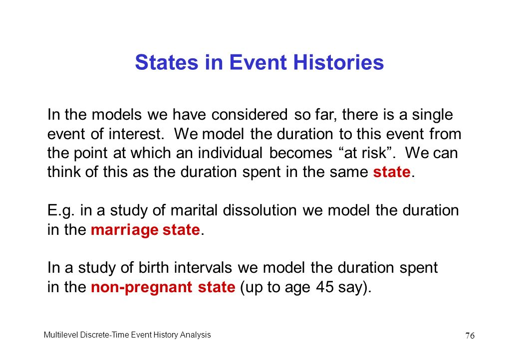 States in Event Histories