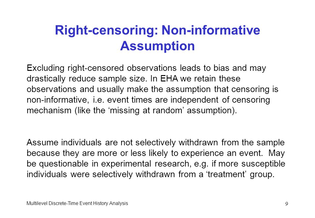 Right-censoring: Non-informative Assumption