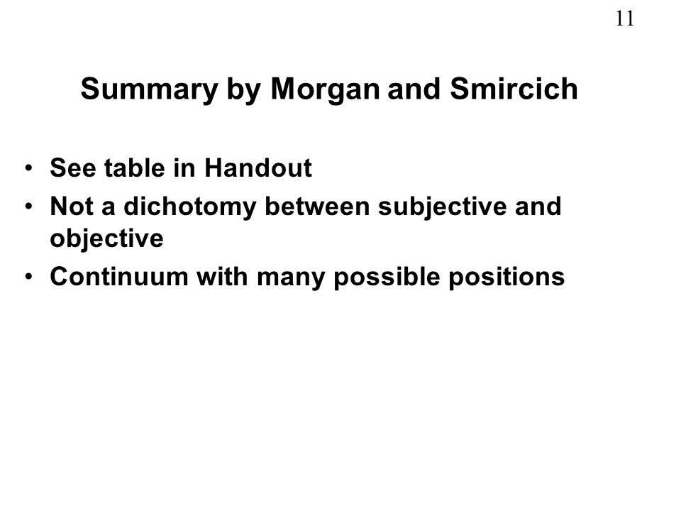 Summary by Morgan and Smircich