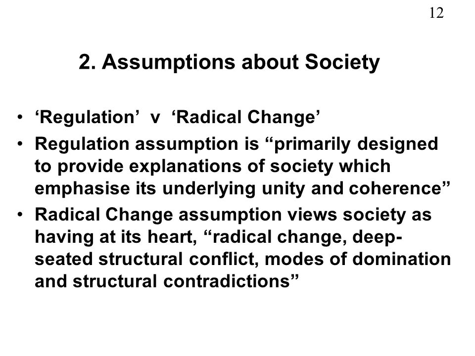 2. Assumptions about Society