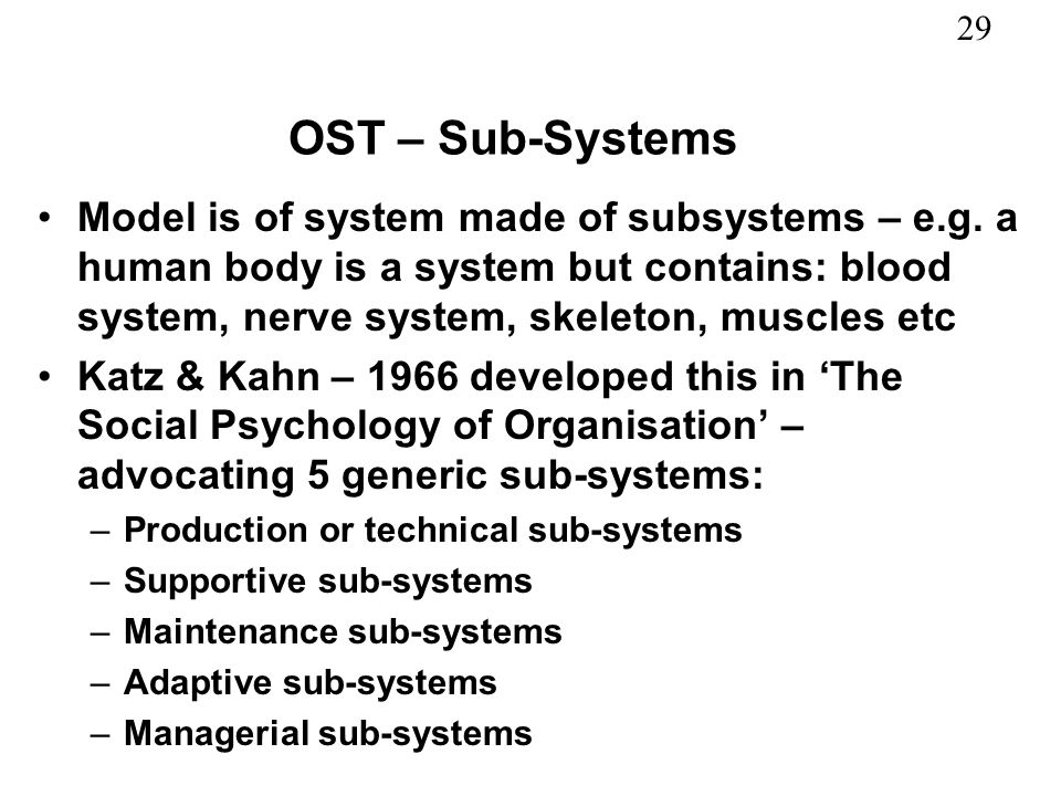 OST – Sub-Systems