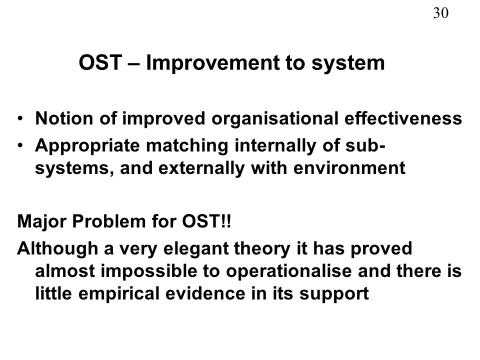 OST – Improvement to system