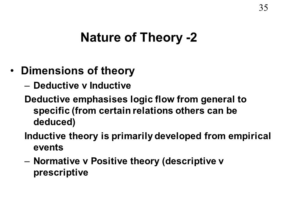 Nature of Theory -2 Dimensions of theory Deductive v Inductive