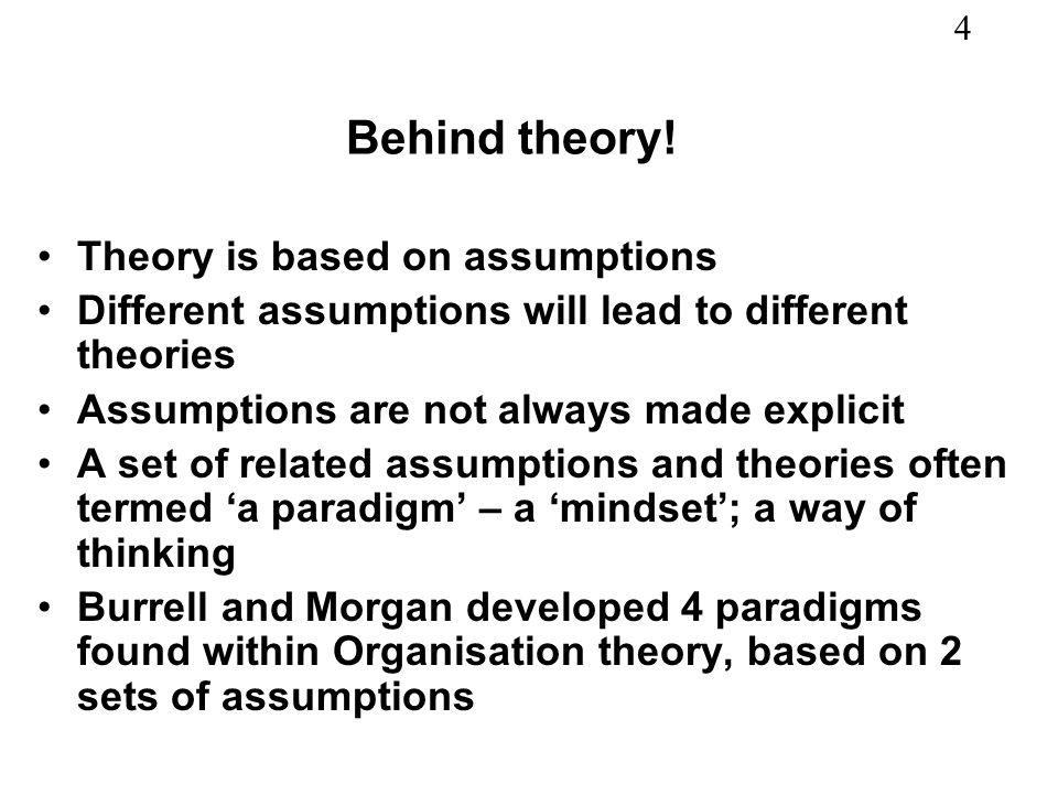Behind theory! Theory is based on assumptions