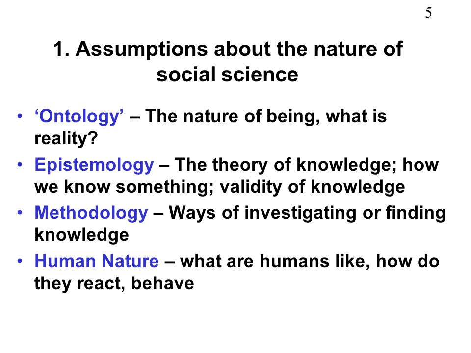 1. Assumptions about the nature of social science