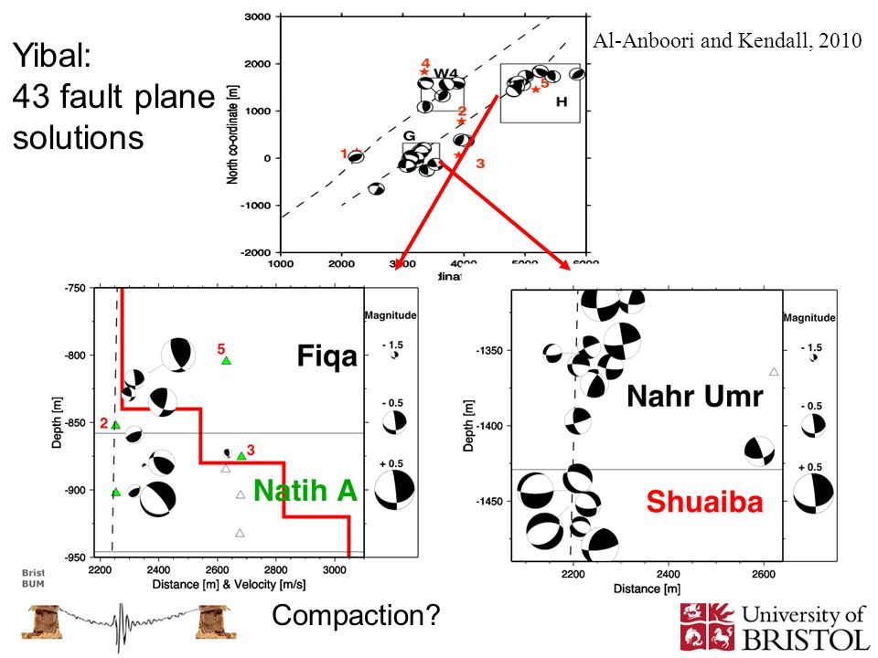 Yibal: 43 fault plane solutions Compaction
