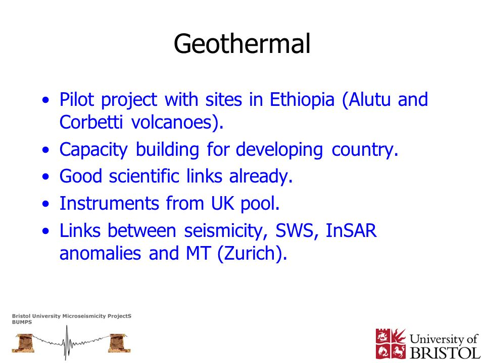 Geothermal Pilot project with sites in Ethiopia (Alutu and Corbetti volcanoes). Capacity building for developing country.