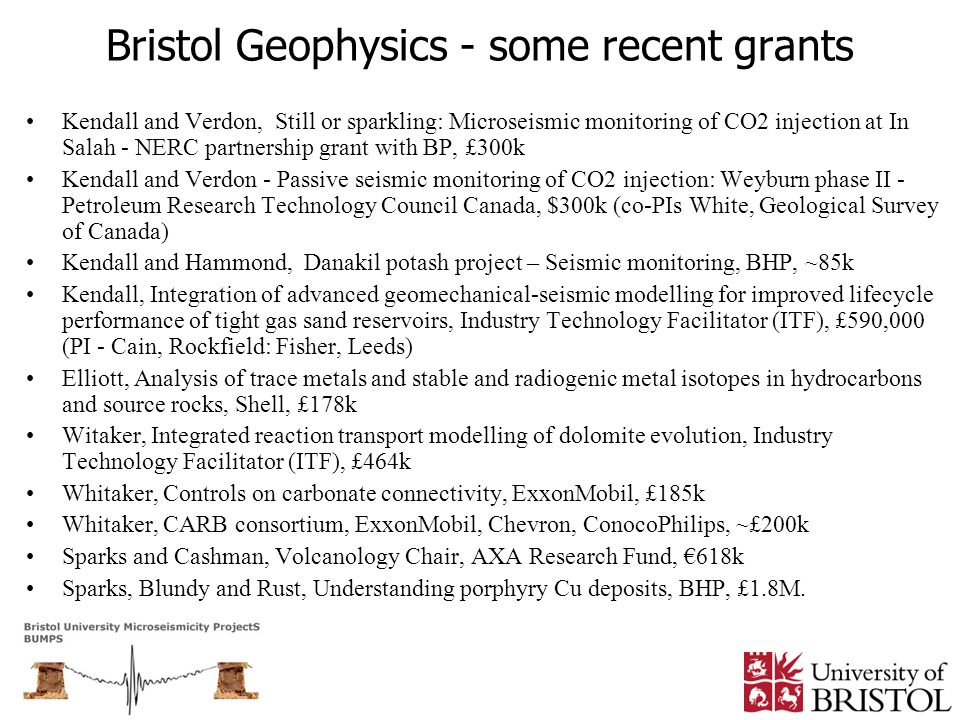 Bristol Geophysics - some recent grants