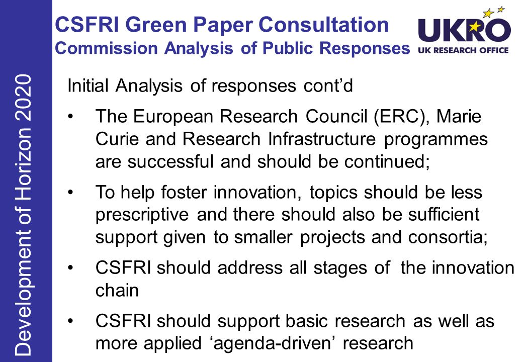 CSFRI Green Paper Consultation Commission Analysis of Public Responses