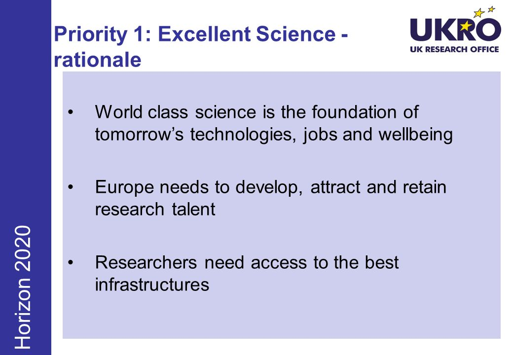 Priority 1: Excellent Science - rationale