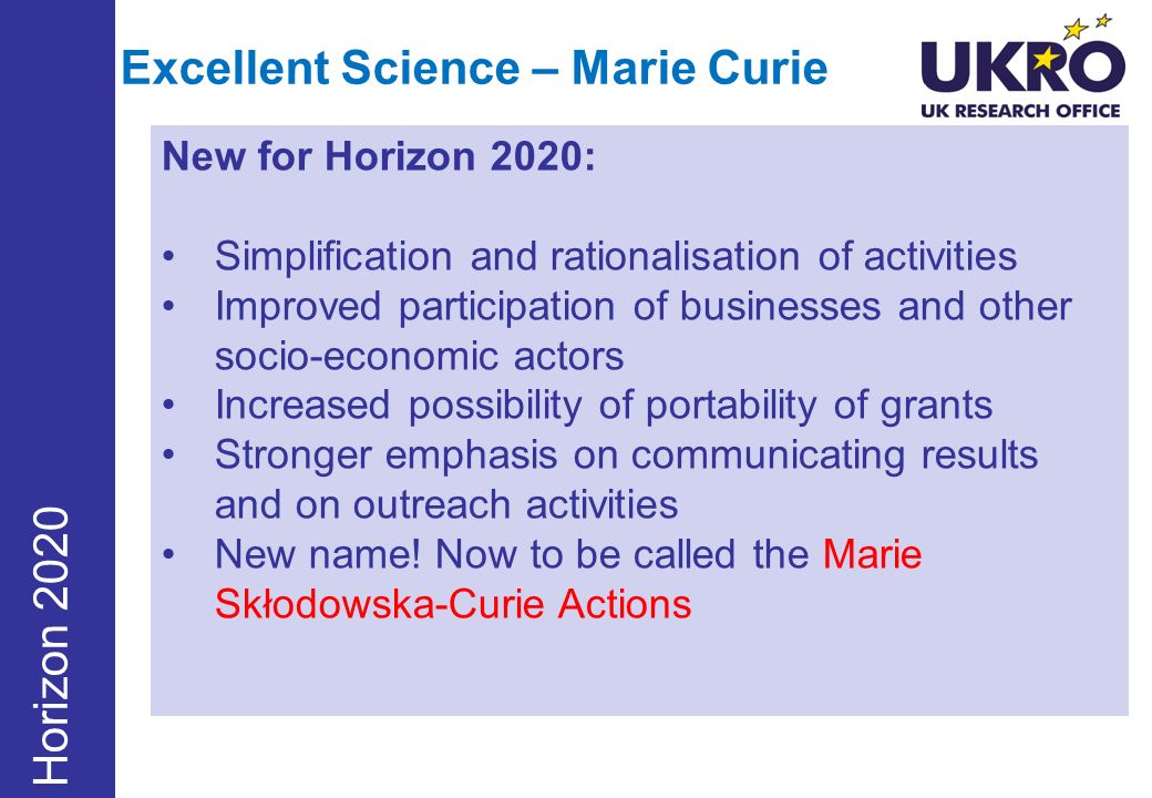 Excellent Science – Marie Curie