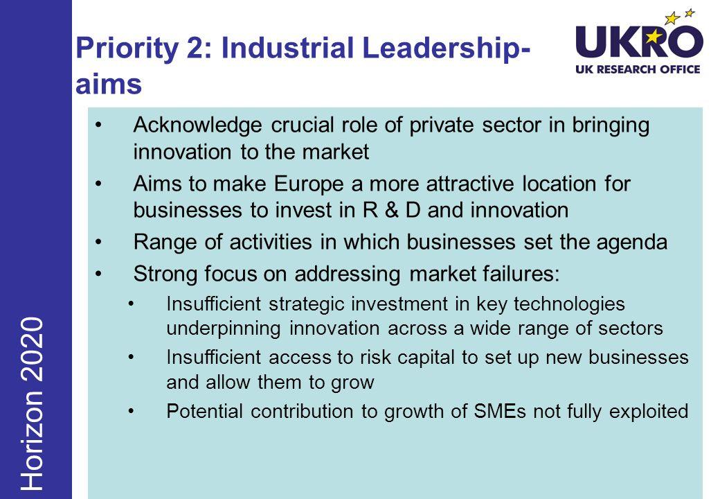 Priority 2: Industrial Leadership- aims