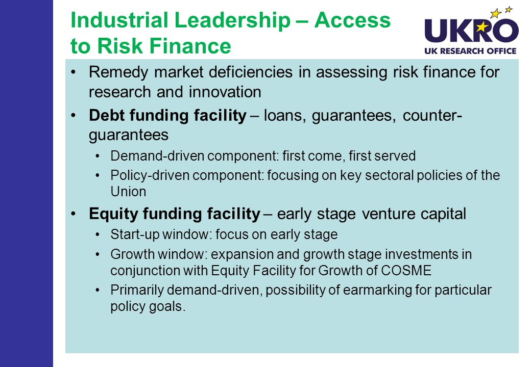 Industrial Leadership – Access to Risk Finance