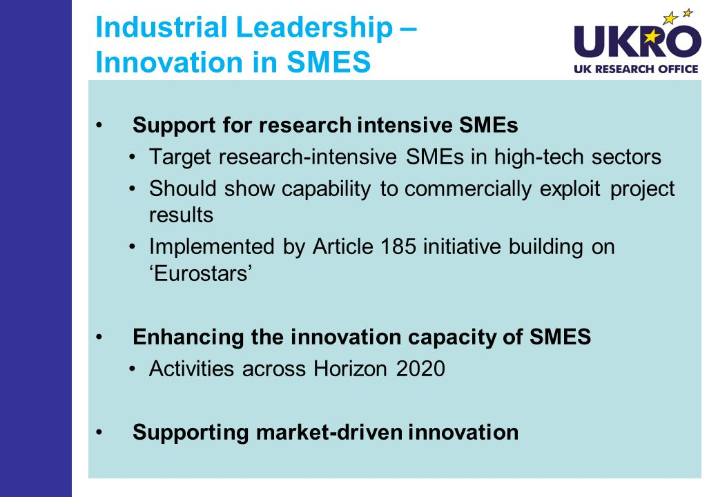 Industrial Leadership – Innovation in SMES